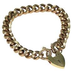Vintage 9k Gold Curb Link Bracelet Heart Lock Hallmarked 1975