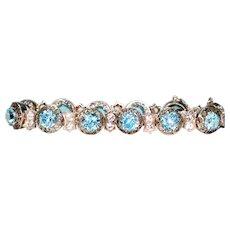 Antique Art Deco Blue Zircon Bracelet Gold and Silver