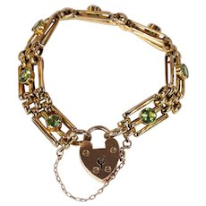 Edwardian Gold Peridot Gate Bracelet with Heart Lock