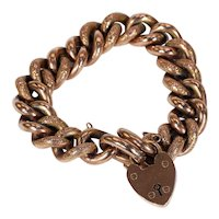 Antique Victorian Curb Link Bracelet Engraved Rose Gold