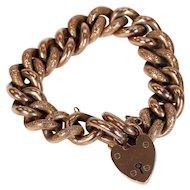 Antique Victorian Curb Link Bracelet Engraved Rose Gold