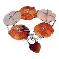 Victorian Scottish Agate Silver Bracelet Heart Lock Pebble Jewelry