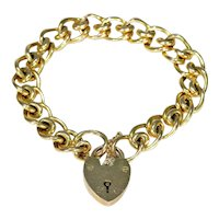 Antique Fancy Link Curb Style Bracelet Heart Lock