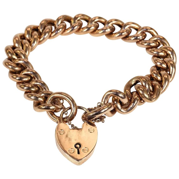 Antique Victorian Rose Gold Curb Link Bracelet with Heart Lock, c ...