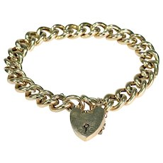 Antique 15k Gold Curb Link Bracelet with Heart Padlock
