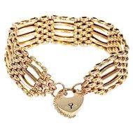 Fantastic Edwardian Gate Bracelet in 9k Yellow Gold 8 inches long