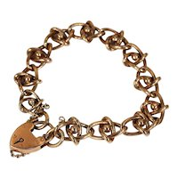Edwardian Gold Fancy Link Heart Lock Bracelet