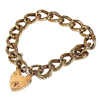 Antique 18k Gold Curb Link Bracelet with Heart Lock Dated 1902
