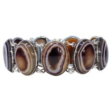 English Victorian Banded Agate Silver Bracelet