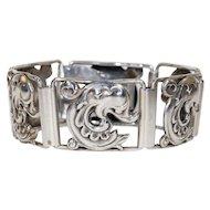 Vintage Scandinavian Mid-Century Silver Bracelet Dolphin Motif