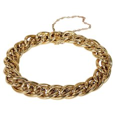 Antique 18k Gold French Double Curb Link Bracelet