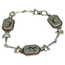 Midcentury Silver Wood Equestrian Horse Bracelet