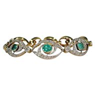 Stunning French Edwardian Emerald Diamond Bracelet 18k Gold Platinum