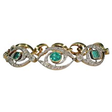 Stunning French Edwardian Emerald Diamond Bracelet 18k Gold Platinum