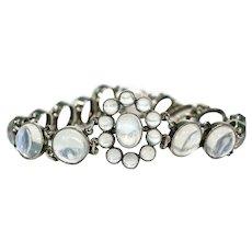 Glowing Antique Silver Moonstone Bracelet