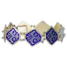 Scandinavian Blue Enameled Bracelet Silver Gilt