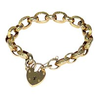 Victorian Gold Engraved Link Bracelet with Heart Lock