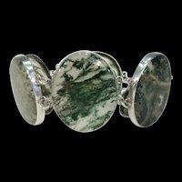 Antique Victorian Moss Agate Silver Bracelet Scottish Pebble Jewelry