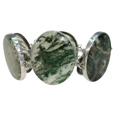 Antique Victorian Moss Agate Silver Bracelet Scottish Pebble Jewelry