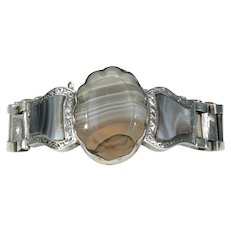 Antique Scottish Agate Bracelet Silver Victorian