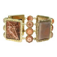 Glorious Georgian Agate 15k Gold Panel Bracelet