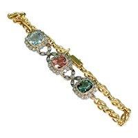 Late Victorian Gemstone Diamond Bracelet 18k Gold Tourmaline Aquamarine