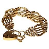 "Wonderful Wide Antique Victorian Gate Bracelet, 15k Gold, 7"""