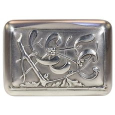 Antique Art Nouveau French Mistletoe Floral Silver Box