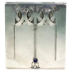 Antique Art Nouveau Silver Sapphire Card Case Box