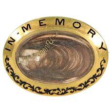 Victorian Memorial Enamel Gold Brooch Pin Inscribed 1879 'Dear Helen'