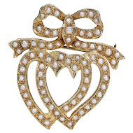 Vintage Double Witches Heart and Bow Gold Pearl Brooch Hallmarked