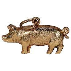 Vintage Gold Pig Charm Hallmarked 1975