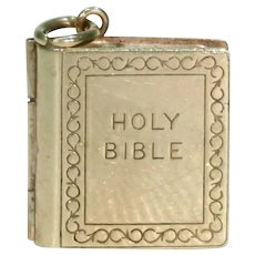 Vintage Gold Bible Charm Pendant with Titles and Chapter