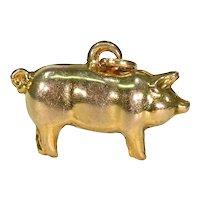 Vintage Gold Pig Charm Pendant