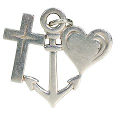 Vintage Faith Hope and Charity Silver Charm Sterling