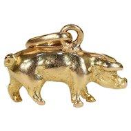 Vintage 18k Gold Pig Charm Pendant