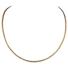 Antique Edwardian 16 inch 9k Gold Chain with Rosy Hue