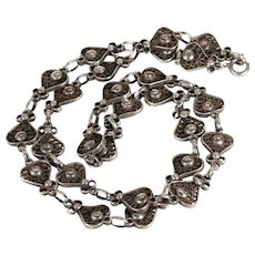 Silver Filigree Hearts a Plenty Vintage Chain Necklace 18.75 inches