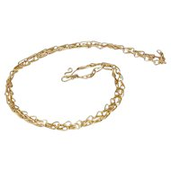 Interesting Hand Crafted 9k Gold Chain, 16.25 inches long