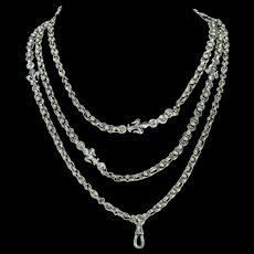 Antique French Long Guard Chain Fleur de Lis Motif Silver