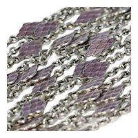 Victorian Silver Purple Enamel Long Guard Chain Necklace