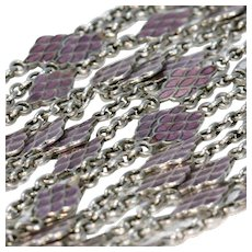 Victorian Silver Purple Enamel Long Guard Chain Necklace