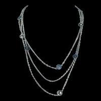 Antique French Art Nouveau Silver Station Necklace