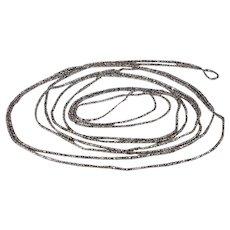 Antique Cut Steel Long Gaurd Chain Necklace, 86 inches, c. 1870