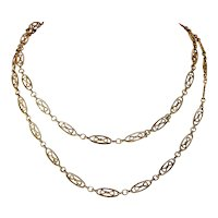 Antique French Long Guard Chain Necklace 35 inches