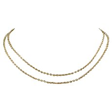 Edwardian 9k Gold Link Chain 28 inches Long Necklace