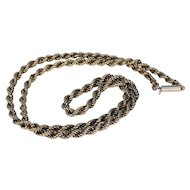 Victorian 17 inch Long Rope Chain 15k Gold Barrel Clasp