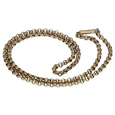 Victorian 18 inch Long Chain for Pendants 9k Gold Barrel Clasp