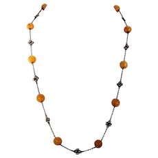 Antique Arts & Crafts Amber Silver Chain Necklace