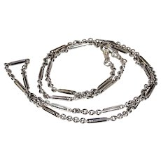 Victorian Silver Mixed Link Chain 32 inches